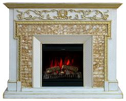 kamin-Real-flame-Venezia-white-Gold