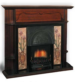 kamin-Real-flame-Carmel-antique