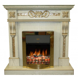 kamin-Real-flame-Corsica-white-gold-s-ochagom-Chester-brass